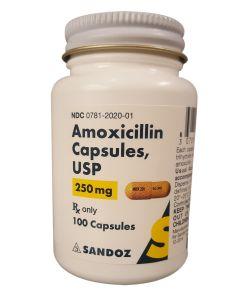 Amoxicillin 250mg - 100 Capsules Antibiotics