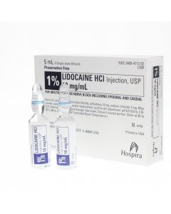Lidocaine 1%, 5ml, 25s, amps