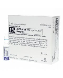 Lidocaine 1% 50x2ml pf